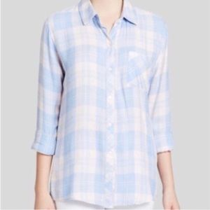 Rails Flannel Light Pink and Blue Top Size Large